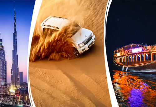 Dubai City Tour, Desert Safari Et Marina Dhow Cruise Dinner